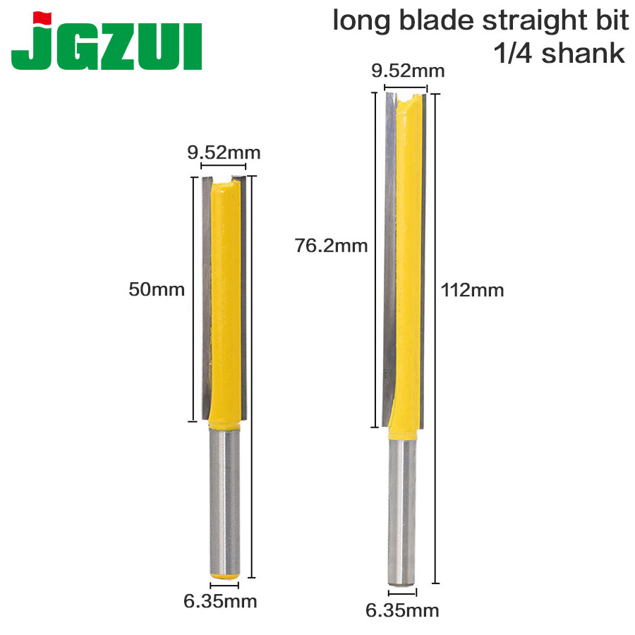 цена на 2pcs 3/8Wx2and3/8*3H Long Straight Router Bit 2 Flute 1/4 Shank Woodworking Cutter For Power Tool