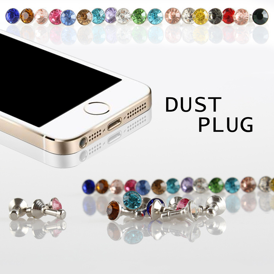 5 piece Universal 3.5mm Diamond Dust Plug Mobile Phone accessories gadgets Earphone Plugs For iPhone 5 5s 6 6s