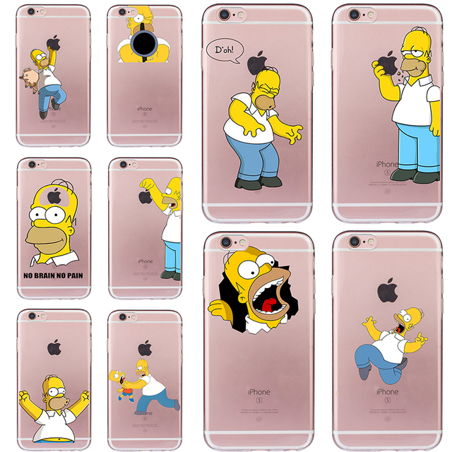 Funny Homer Case for iphone 6 6s 5 5s SE 7 plus Ultra-thin Cheap Cover Simpson Coque Soft TPU Fundas Silicone Transparent Cute