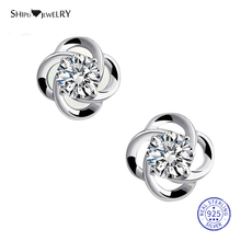 Shipei 100% Sterling Silver Fine Jewelry White Gold Sapphire Plum Blossom Stud Earrings for Women Female Anniversary Gift