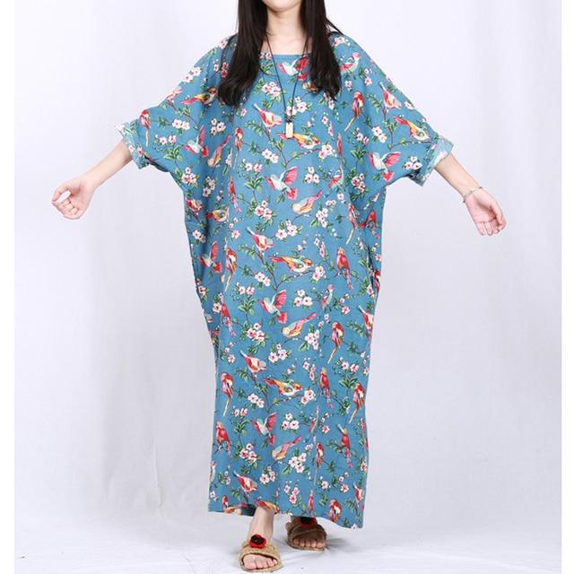 Women Dress Vintage Literary Folk Style Retro Loose Gown Robe Plus Size  Batwing Sleeve Flowers Birds Pattern Robe Orientale b087a01d5e2e