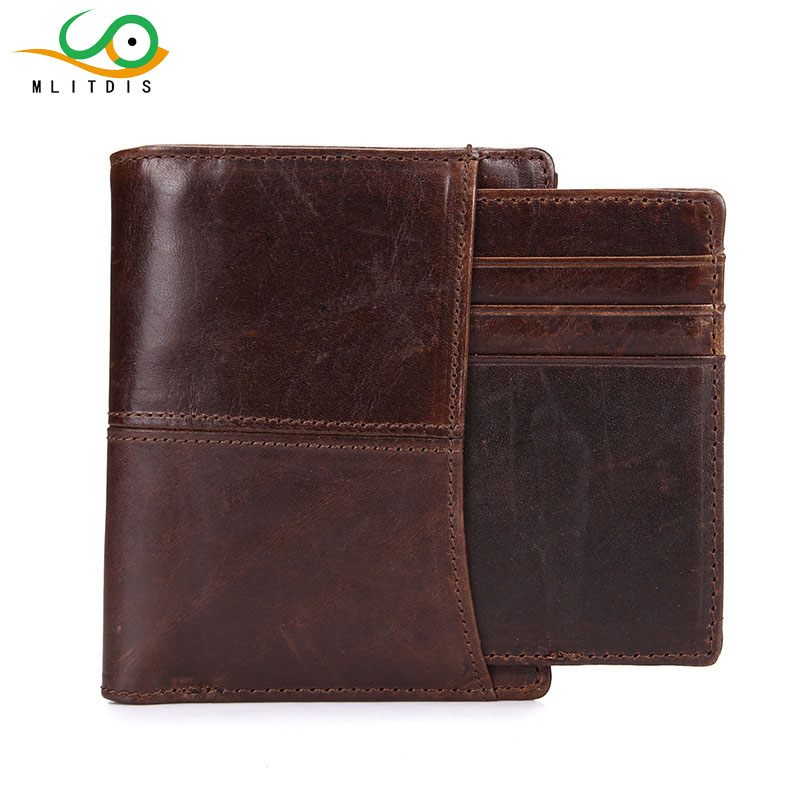 MLITDIS Genuine Leather Wallet Men Slim Cowhide Cover Coin Purse Small Brand Male Credit&id Multifunctional Walets Small Purses coin purses genuine leather credit id