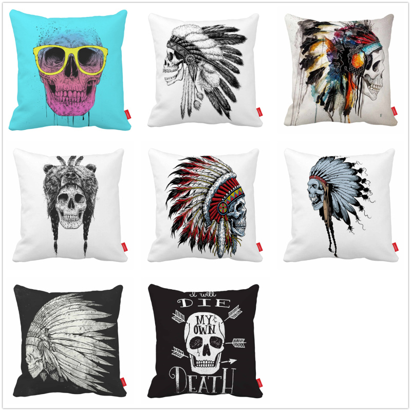 Native Indian Tribal Feather Hat Skull Print Canvas Car Decorative Throw Pillowcase Pillow Case Cushion Cover Sofa Home Decor