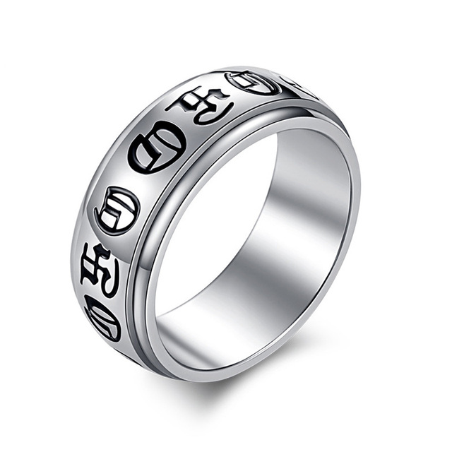 2017 Punk Silver Color Spinner Religious Wedding Bands Stainless