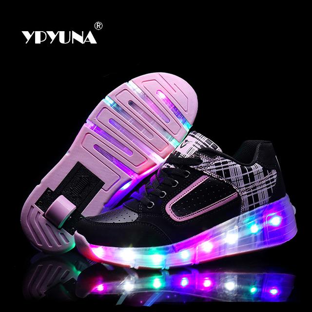 Tamaño 27-37//brillante niños roller shoes con ruedas niños led light up shoes zapatillas para niños niñas zapatilla de deporte de color rosa negro