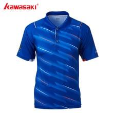 Подлинная Kawasaki Спорт, Бадминтон футболка для мужчин с отворотом сухой дышащий обычный короткий рукав блузка ST-T1002