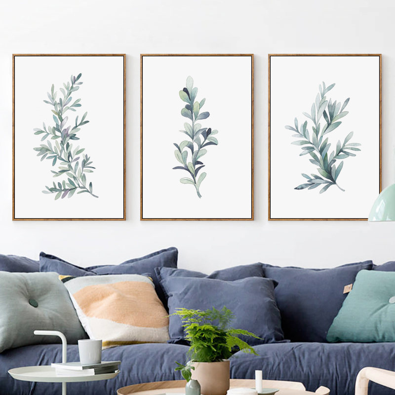 Bianche Wall Watercolor Plant Leaves Canvas Painting Art Print Poster Picture Home Bedroom Decoration