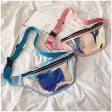 купить QIUYIN Transparent Bum Bag Travel Beach Holographic Fanny Pack Waist Bag Women New Fashion Laser Shiny Neon Street Style по цене 789.39 рублей