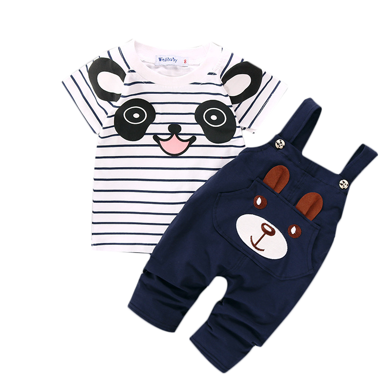 2Pcs/Sets Baby Clothes Sets Boys Cotton Cute Cartoon Panda Striped T-shit+Strap Pants For Newborn Infant Girls Clothing Sets puseky 2017 infant romper baby boys girls jumpsuit newborn bebe clothing hooded toddler baby clothes cute panda romper costumes