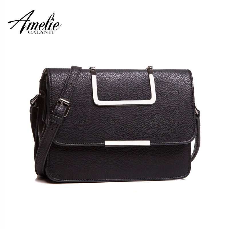 AMELIE GALANTI Women Leather Luxury Handbag Messenger Bag Designer Metal  strap Crossbody Bags high quality hard 6244824c43c94