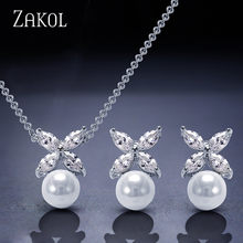 ZAKOL Simulated Pearl Jewelry Set Trendy Cubic Zircon Pendant Necklace Earrings Set Leaf Crystal Jewelry For Women FSSP293(China)