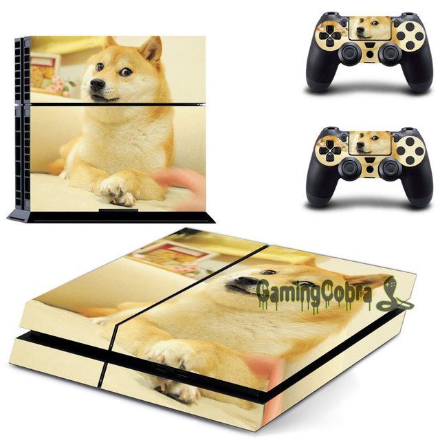 eXtremeRate Doge Vinyl Decal Sticker Protector Set for PS4 Console 2 Controller Skins