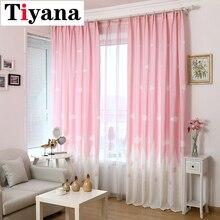 Занавески на окна с изображением замка из мультфильма, занавески для детской комнаты, занавески для девочек, спальни, гостиной, прозрачные занавески на окна, розовый, голубой цвет, P126D3