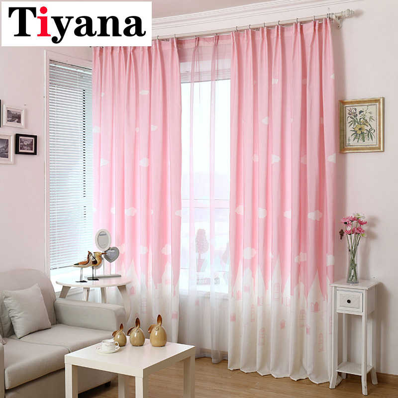 Cartoon Castle Shade Blinds Window kids room curtains girls Bedroom Living Room Sheer Window Drapes Pink Blue Color P126D3