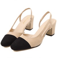 Classic Color Block Decoration Cutout 5CM High Heels Comfortable Women Shoes Empty Inside Female Shopping Shoes