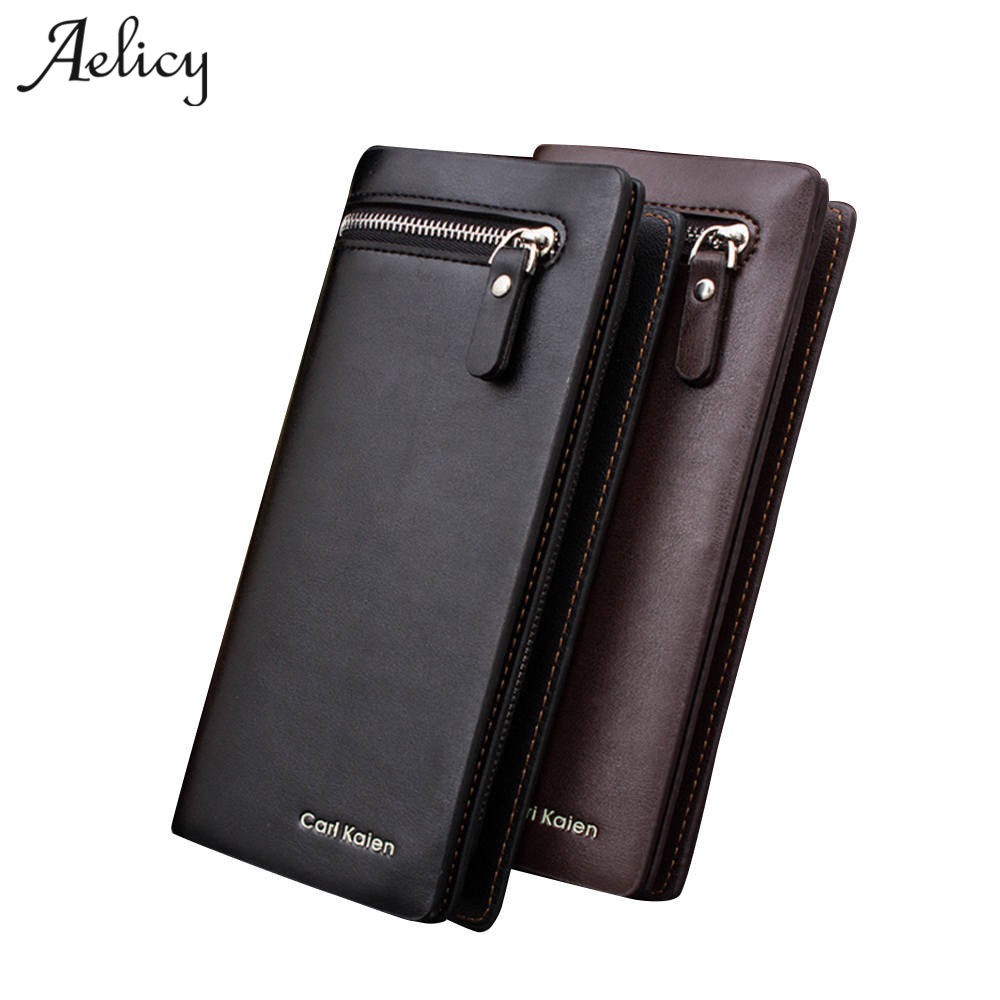Aelicy High Quality Men Wallets Male Purse PU Leather Wallet with Coin Pocket Long Luxury Brand Male Carteira Wallets 2018 L men long purse boys teenagers black pu wallet doge shiba inu wallets birthday gifts carteira