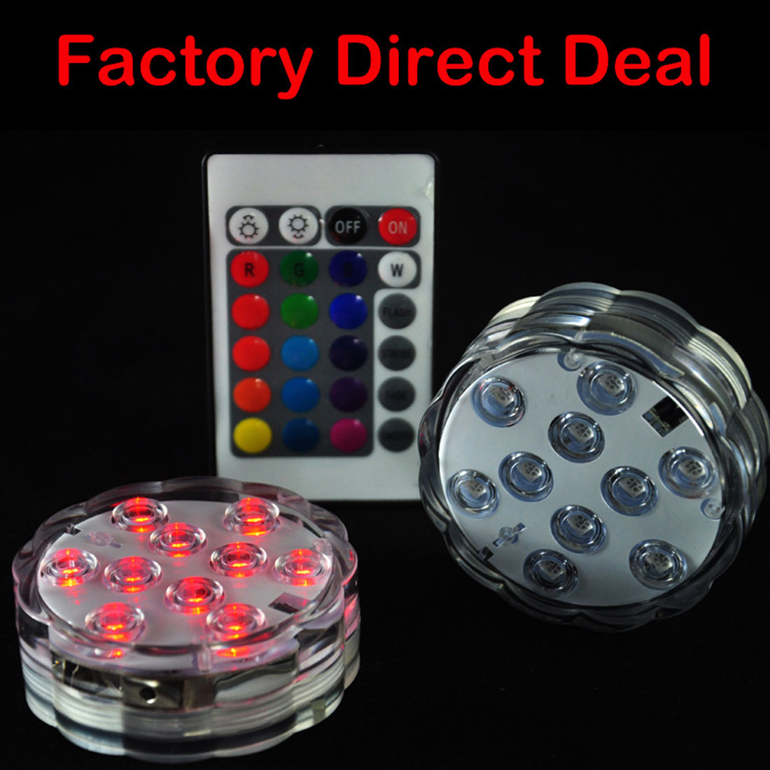 10 LED RGB Submersible Lamp With Remote Multi Color IP68 Waterproof Swimming Pool Light for Aquarium Pond Wedding Party