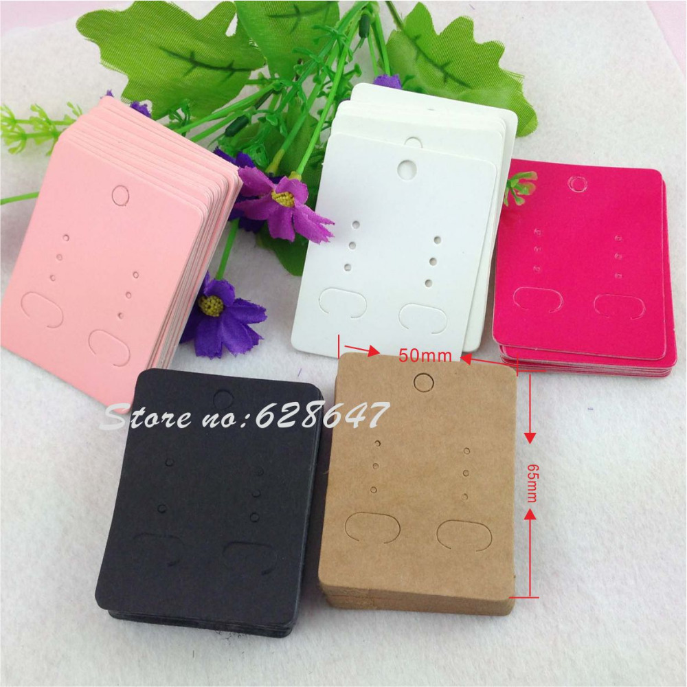 200Pcs/ Lot 6.5x5cm Kraft Paper Earrings Card  Jewelry Display Card Kraft Earring Paper Ear Studs Card Accept Custom Order