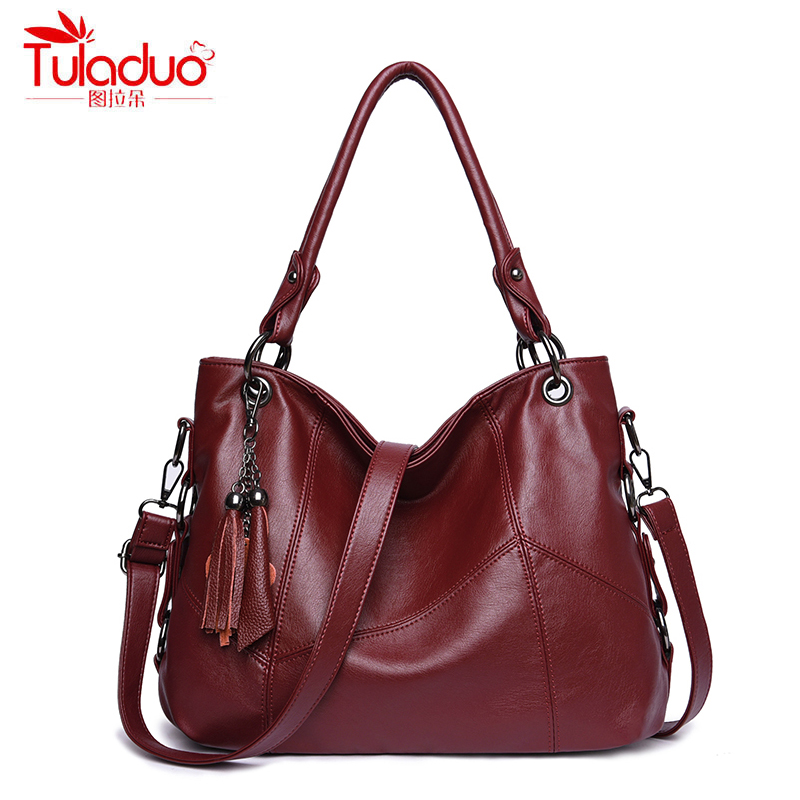 High Quality PU Leather Women Handbags Fashion Tassel Women Shoulder Bags Patchwork Large Capacity Women Top-Handle Bags 2018
