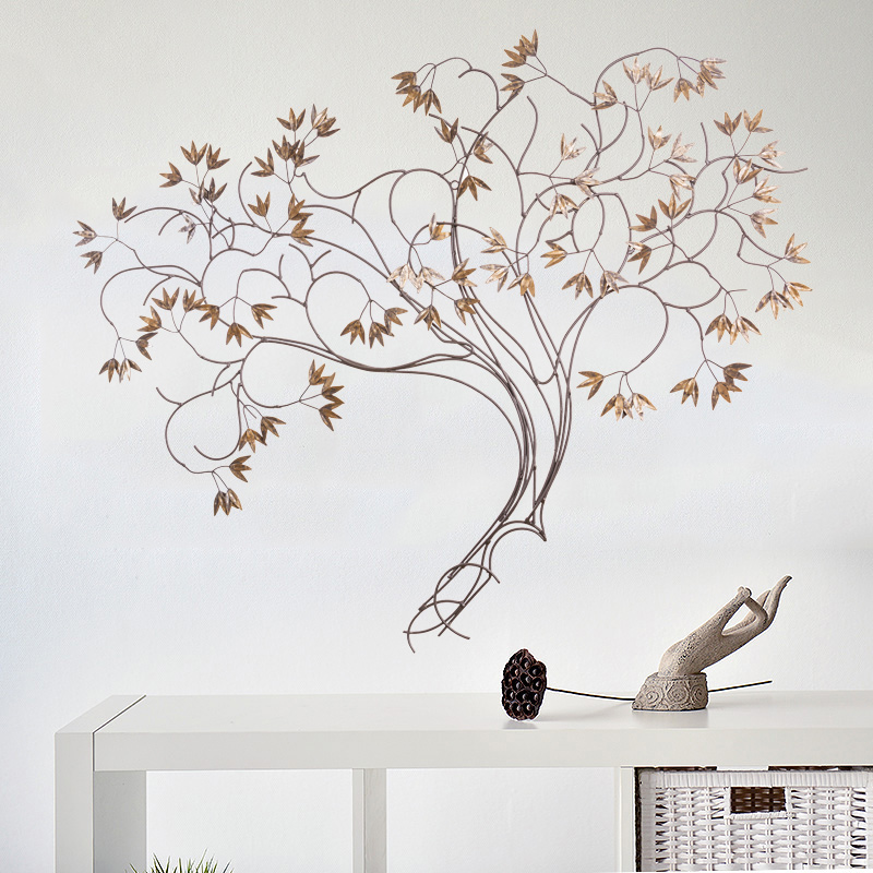 iron wall mural Wall Chinese retro money tree living room TV background wall decorations Home Furnishing wall Pendant