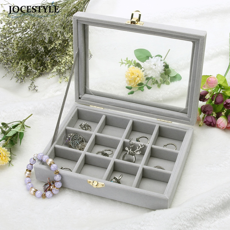 Velvet Glass Jewelry Display Box 20*15*4.5cm Jewelry Tray Holder Casket Storage Organizer 2017 Earrings Ring Box jewelry organizer ring display stands ring showed tray holder for rings showcase velvet organizer box for women decorations