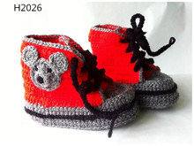 High top Sneakers Children Shoes Crochet Mouse Booties  or panda or bear style  shoe