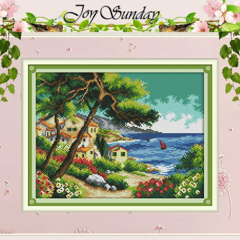 Seaside village counted Cross Stitch 11CT 14CT Cross Stitch Set Wholesale DIY scenery Cross-stitch Kit Embroidery Needlework