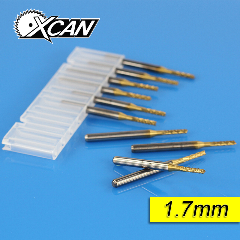 Free shipping 10 Titanium Coat Carbide 1.7mm End Mill Engraving Bits CNC Rotary Burrs Set corn milling cutter PCB router bits