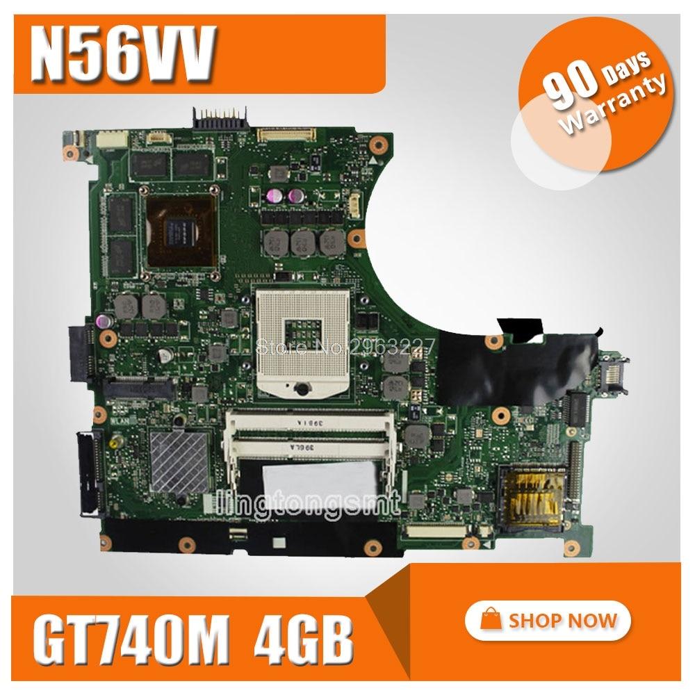 Laptop motherboard for ASUS N56VV REV2.0 mainboard GT740 4G Fit N56V n56vm N56VV N56VZ N56V N56VJ N56VJ mainboard sheli n56vm motherboard for asus n56v n56vm n56vz n56vj laptop motherboard gt650m original tested mainboard n56vz