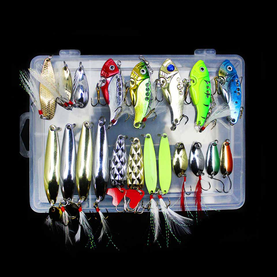 WALK FISH Metal Fishing Lures Set Spoon VIB Lure with Feather Artificial Lure Fishing Bait in Plastic Box Fishing Accessories