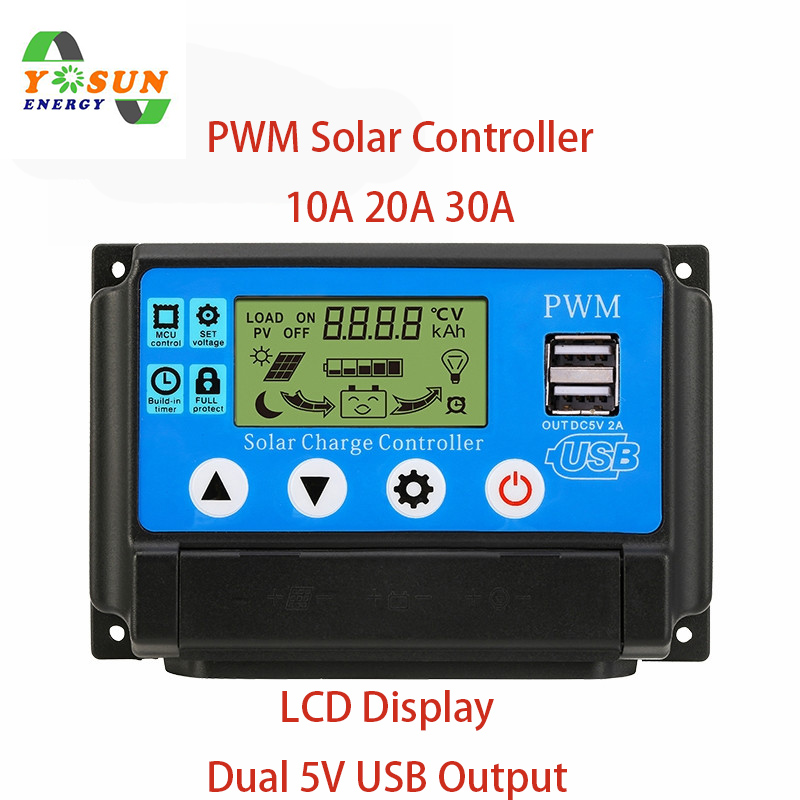 PWM Solar Charge Controller 30A 20A 10A 12V 24V Auto Work LCD Dual USB Output Solar