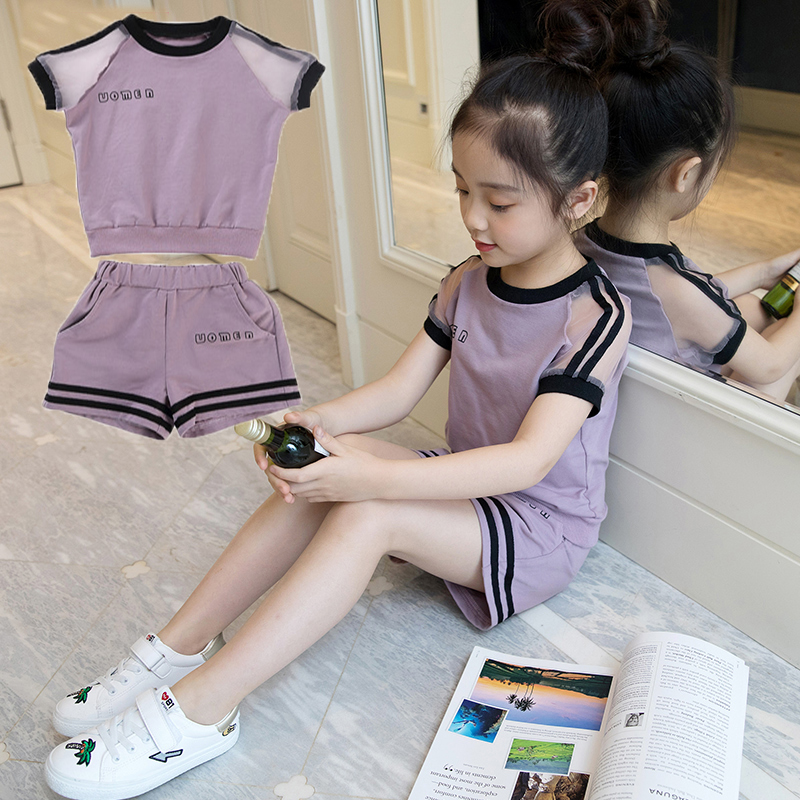 Girls set 2019 Summer Suit 4 New 5 Children Dress 6 Girls 7 Fashionable 8 Gas 9 Clothes Tide Child 10 Years Old(China)