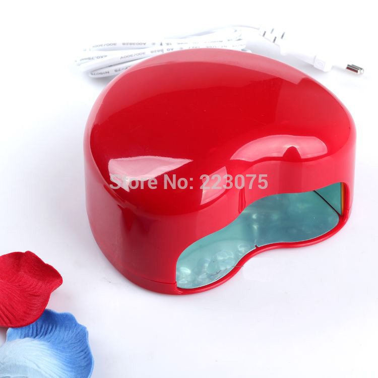 Hot 110v or 220v LED Lamp Soak-off Gel Polish Nail Cure UV Dryer Heart-shaped 3W Manicure Machine redHot 110v or 220v LED Lamp Soak-off Gel Polish Nail Cure UV Dryer Heart-shaped 3W Manicure Machine red