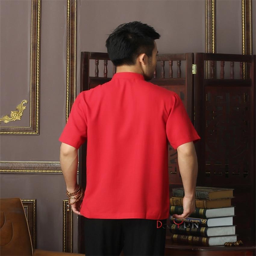 New Arrival Red Chinese Mens Cotton Mandarin Collar Kung Fu Shirt Top Novelty print Tang Shi Tang Suit Size S M L XL XXL XXXL