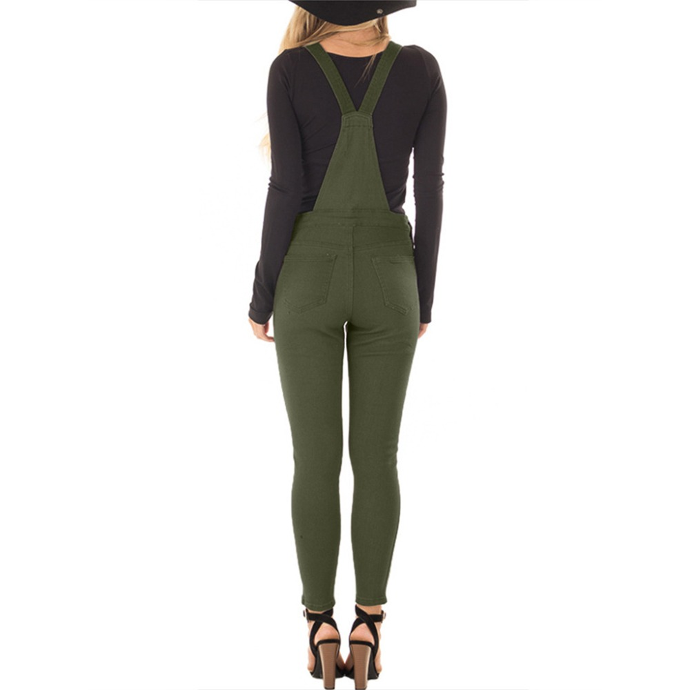 Plus Delgado Clásico Jeans Color Monos Tirantes Correa Sólido Babero black Green Elástico Pantalones Ajustable Mono Larga Tamaño De r5Ewqr