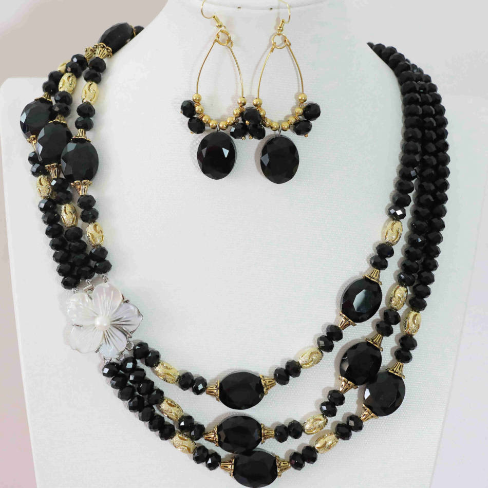 Elegant black crystal abacus oval beads shell pendant earrins 3rows necklace jewelry set 20-23″B1000