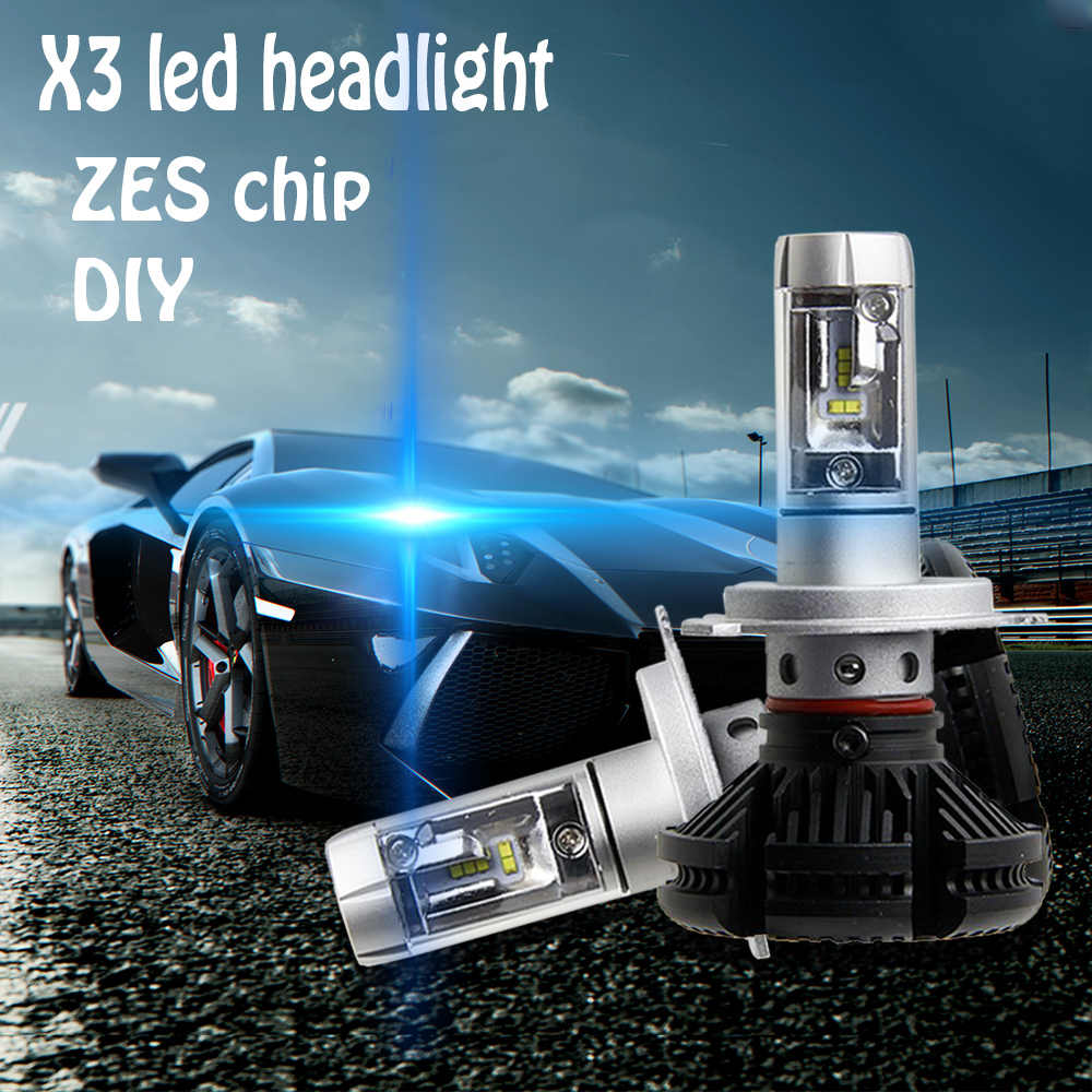 X3 H1 H3 H4 H7 H11 9005 HB3 9004 9007 9006 HB4 LED Headlight Auto Kit ZES Chips 7th Fanless 6500K DIY 50W 6000LM 3000K 8000K