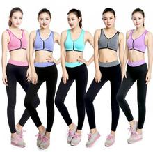 2016 O-neck Sleeveless Yoga Tight Sports Pants and Bra Suits Female Fitness Jogging High Leg Pants quick dry Yoga Sets