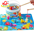 Kids Wooden Magnetic Fishing Toy Set Educational 3D Jigsaw Puzzle Play Fishing Games for  Preschool Children