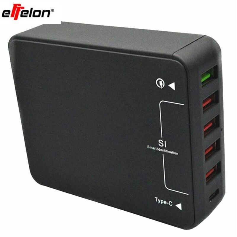 Effelon qc 3.0 5-port usb chargeur + type c ports usb mur chargeur rapide puissance adaptateur pour samsung/huawei/iphone mobile téléphone