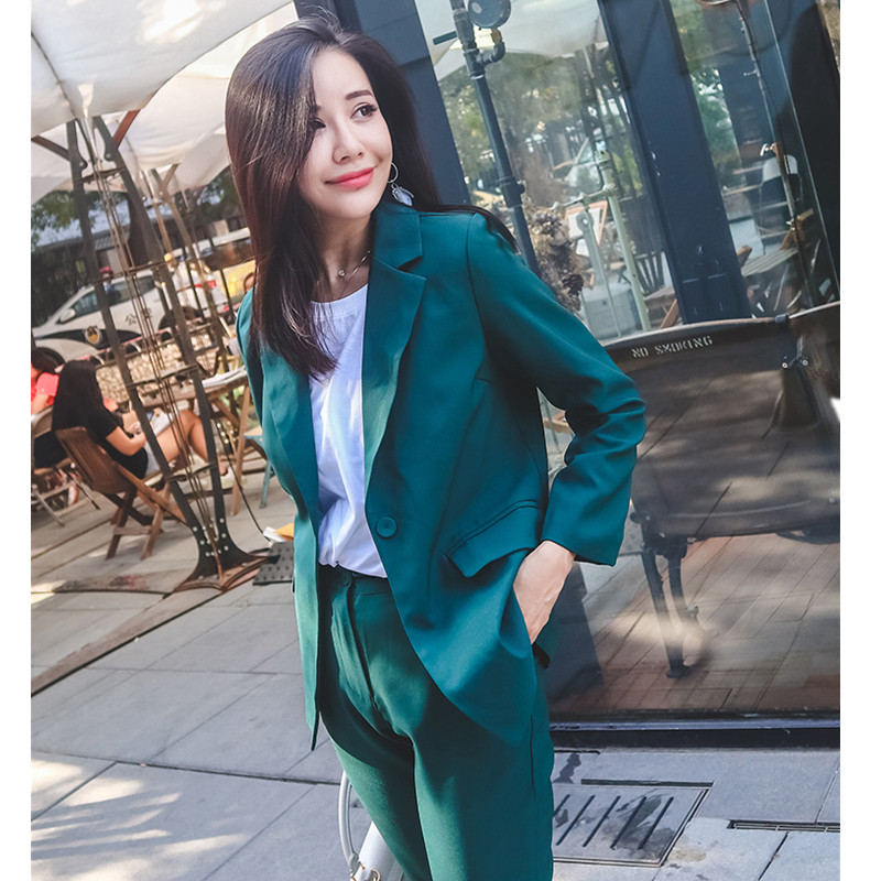 Customized Now Popular New Ladies Casual Solid Color Suit Two-piece Suit (jacket + Pants) Women's Business Office Formal Suit