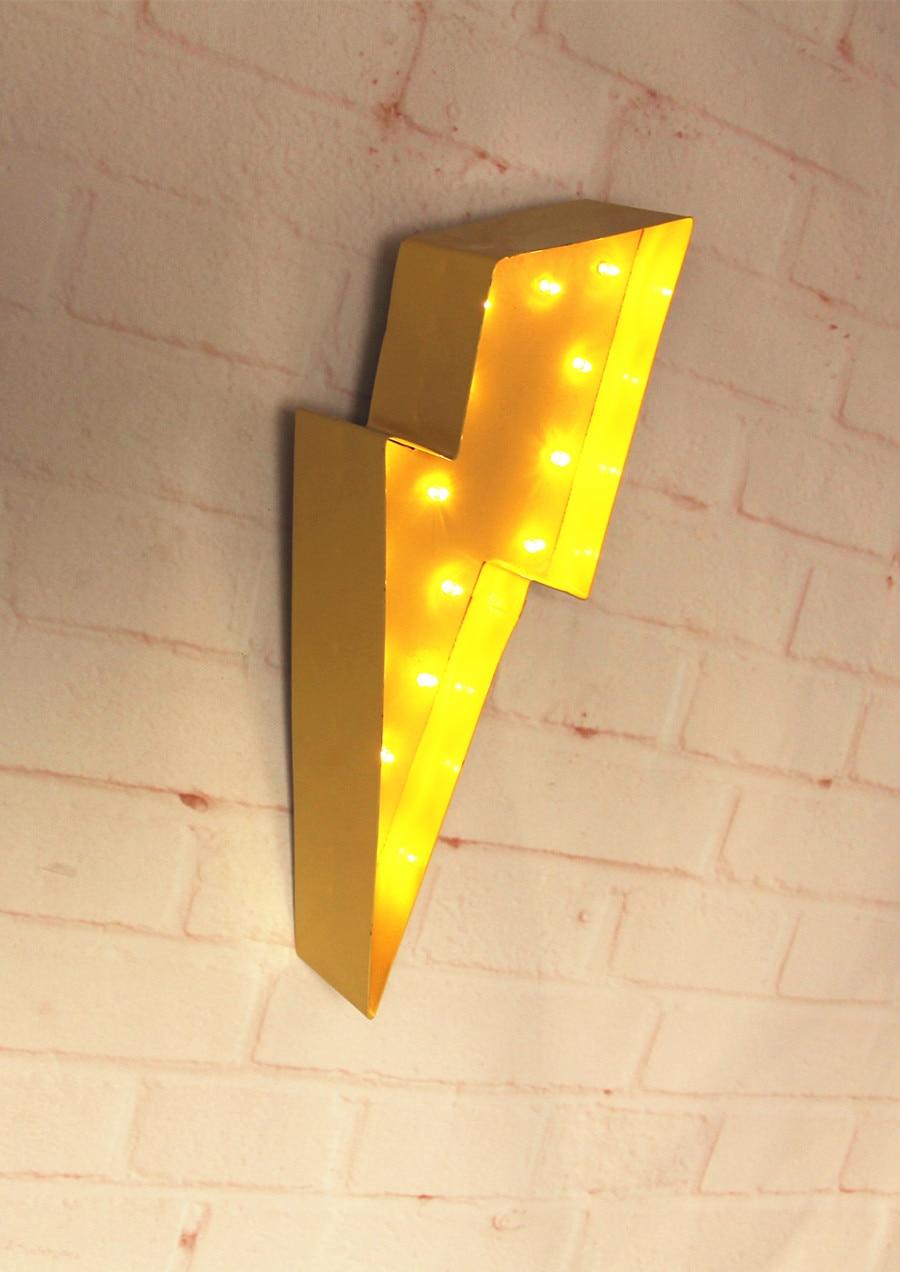 Rayon de foudre en métal blanc Signe de chapiteau LED LIGHT UP - Veilleuses - Photo 3