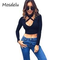 Mosdelu Sexy Lace Up Choker V Neck Women Tops Black T Shirt Women Tops Long Sleeve