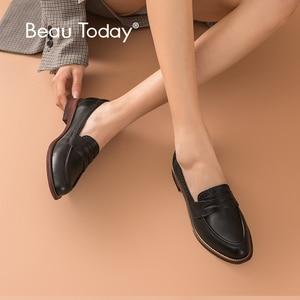 Image 1 - Beautoday Klassieke Vrouwen Penny Loafers Schapenvacht Lederen Puntschoen Moccasin Flats Zwarte Kleur Plus Size Schoenen Handgemaakte 2701310