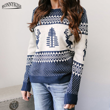 RONNYKISE  Knit Sweater Women Fashion Long Sleeved Pullovers Cute Sweaters Elk Jacquard Christmas