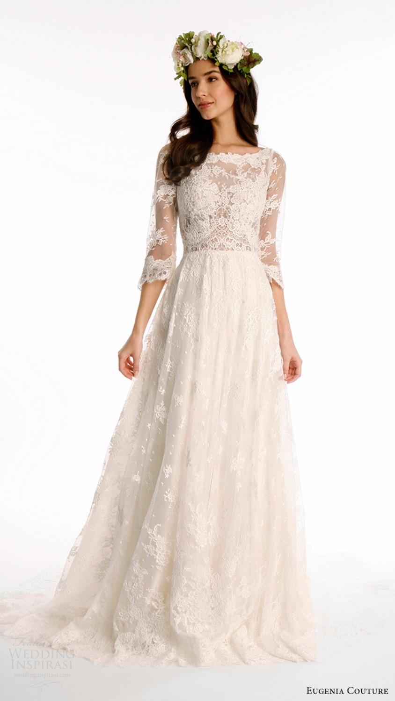 high quality lace bohemian wedding dresses 2017 34 sleeves boat neck sweep train boho bridal
