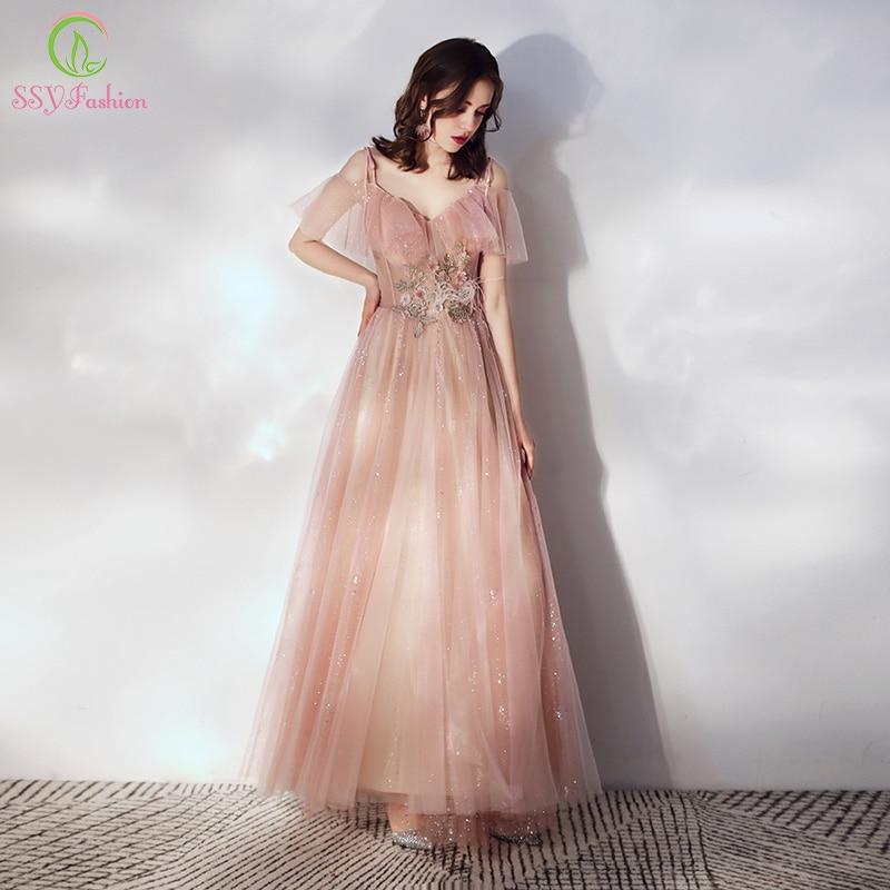 SSYFashion New Sweet Pink Evening Dress Floor-length V-neck Lace Appliques Sequins Formal Prom Gowns Vestido De Noche