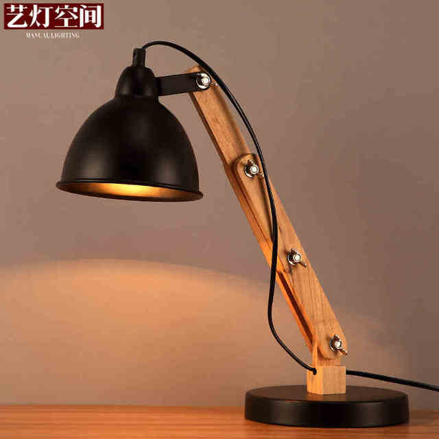 Northern Europe Iron Rotatable Table Lamp Wood Art Fold Bedside Light  AC90 265V Light Bedroom