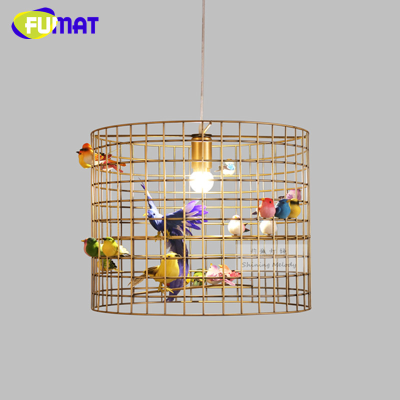 Creative Vintage Birdcage Pendant Light Nordic Modern American Style Dinning Room Pendant Lamp Birdcage tw l0603 led birdcage light yellow