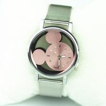Hot Luxury Brand 5 Colors Mickey Metal Mesh Stainless Casual Hollow Quartz Watch Women Dress Cartoon Watches reloj mujer
